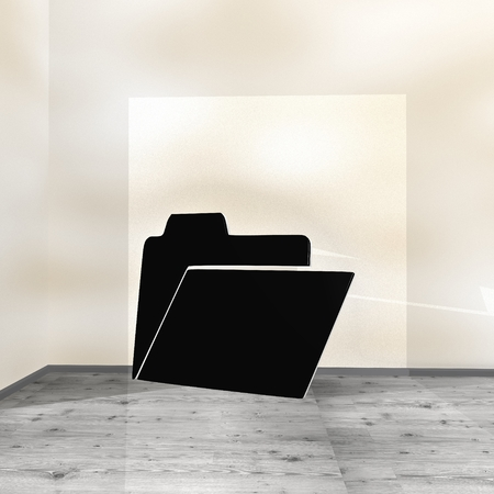 Black  posh organize 3d graphic with creative folder icon leaning on a wall Stock Photo