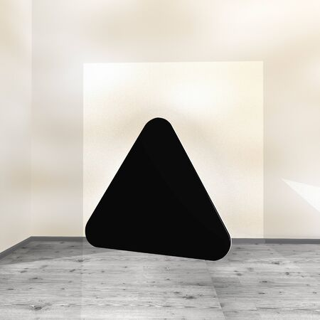 Black  posh background 3d graphic with modern triangle symbol leaning on a wall Stock Photo - 22590134
