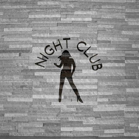 night club interior: Pastel gray  stylish bar 3d graphic with stylish night club symbol  on noble stone texture Stock Photo
