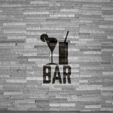 night club interior: Pastel gray  creative interior 3d graphic with creative bar sign  on noble stone texture Stock Photo