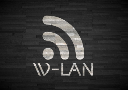 wlan: Pastel gray  creative decoration 3d graphic with creative w-lan label  on noble stone texture
