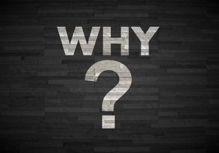 reasons: Pastel gray  creative question mark 3d graphic with creative why label  on noble stone texture