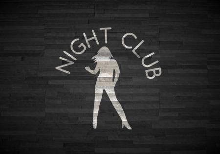 night club interior: Pastel gray  creative interior 3d graphic with stylish night club symbol  on noble stone texture