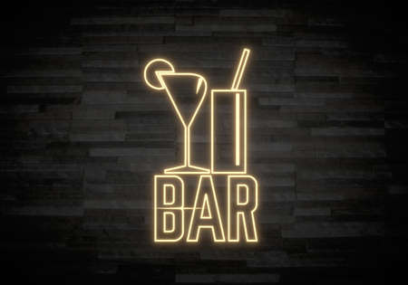 night club interior: Pastel gray  exclusive light 3d graphic with creative bar sign on classy stone wall