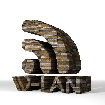 smoky black: Smoky black  isolated brick 3d graphic with isolated w-lan sign  built out of stones