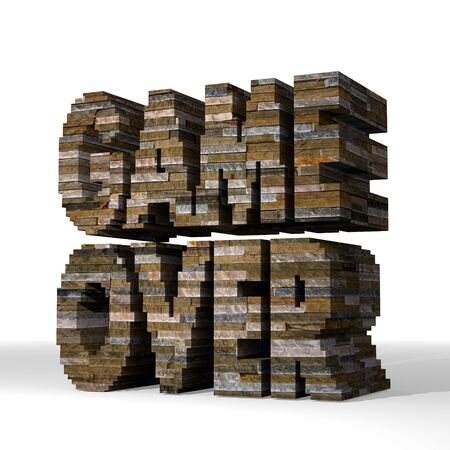 smoky black: Smoky black  strong brick 3d graphic with isolated game over symbol  built out of stones