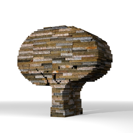 autumnn: Smoky black  eco brick 3d graphic with eco abstract tree symbol  built out of stones