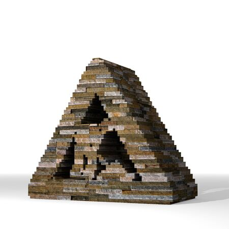 smoky black: Smoky black  solid structure 3d graphic with strong construction site sign  built out of stones