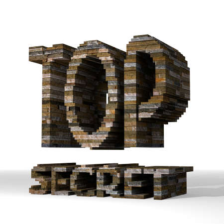 arcane: Smoky black  private structure 3d graphic with solid top secret symbol  built out of stones