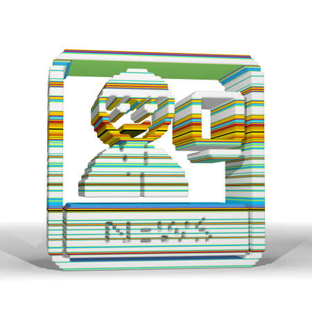 fresh news: Mint cream  fresh element 3d graphic with friendly news symbol  with funny pattern