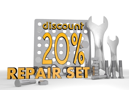 price reduction: Dark orange  -20 price reduction 3d graphic with -20 discount icon repair set