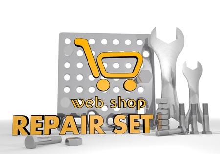gearbox: Dark orange  shopping gearbox 3d graphic with mechanical web shop symbol repair set