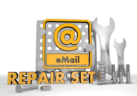 Dark orange  mechanical set 3d graphic with isolated email sign repair set