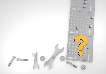 unresolved: Dark orange  unresolved technic 3d graphic with unresolved question sign on white mechanical background