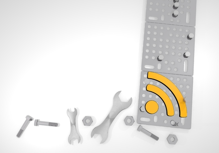 gearbox: Dark orange  isolated gearbox 3d graphic with isolated wifi icon on white mechanical background Stock Photo