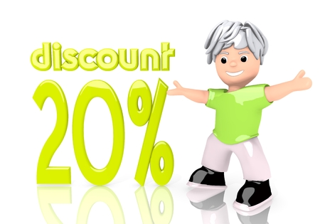 rebate: Limerick  young rebate 3d graphic with -20 discount icon  with cute 3d character Stock Photo