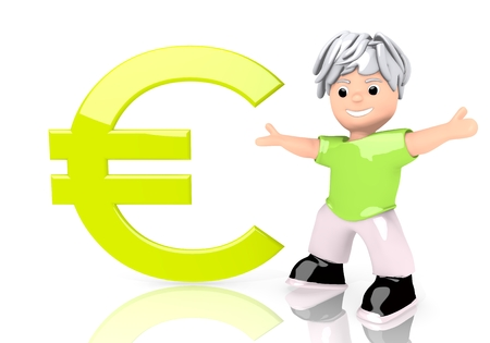 Limerick  funny boy 3d graphic with funny Euro symbol  with cute 3d character photo