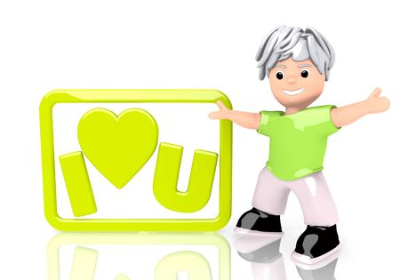 Limerick  young text 3d graphic with young I love you sign  with cute 3d character photo