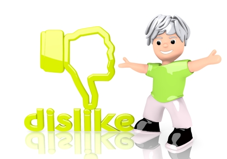 Limerick  happy child 3d graphic with young dislike sign  with cute 3d character
