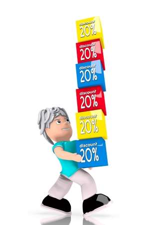 Black  -20 offer 3d graphic with huge discount boxes  carried by a cute character photo