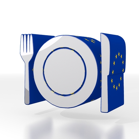 Silver  european dinner 3d graphic with isolated restaurant icon  with eu flag pattern photo