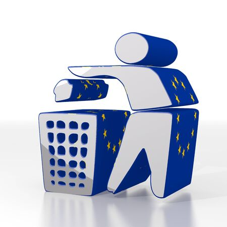 cast off: Silver  erased litter 3d graphic with cleared delete symbol  with eu flag pattern Stock Photo