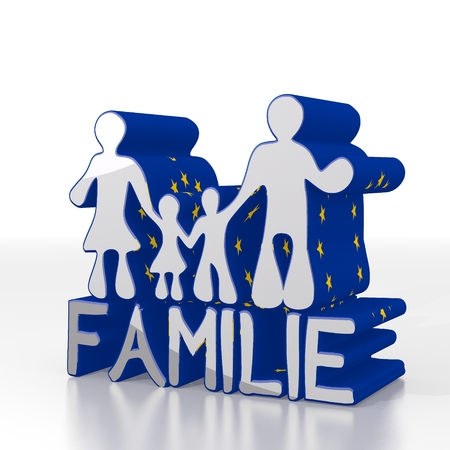 father in law: Silver  european mother 3d graphic with isolated family  in german symbol  with eu flag pattern