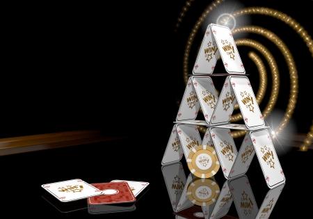 glaring: Pastel gray  glaring metaphor 3d graphic with glaring win sign  on the casino table Stock Photo
