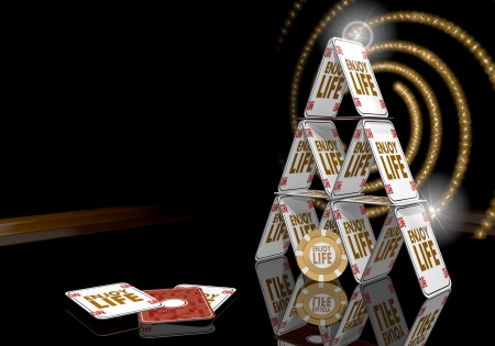 enjoy life: Grigio pastello esclusivo 3d rischioso grafico con lampante simbolo godersi la vita sul tavolo del casin� Archivio Fotografico