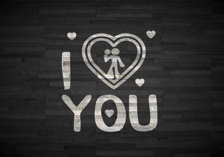 Pastel gray  childish love 3d graphic with childish I love you sign  on noble stone texture photo
