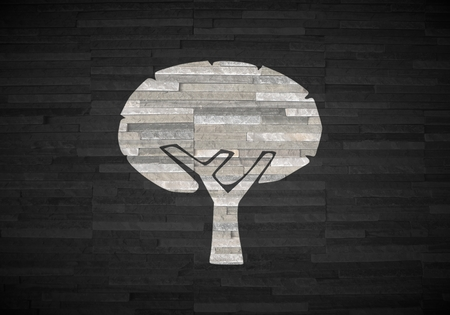 autumnn: Pastel gray  stylish interior 3d graphic with creative abstract tree sign  on noble stone texture