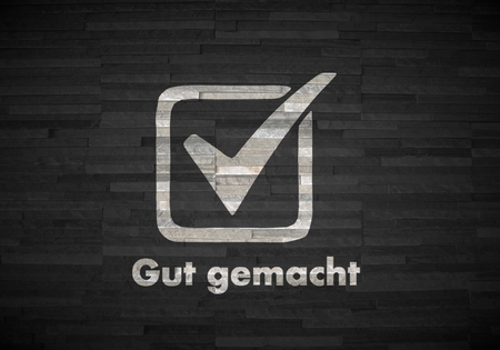 gut: Pastel gray  good ok 3d graphic with good gut gemacht german for well done label  on noble stone texture