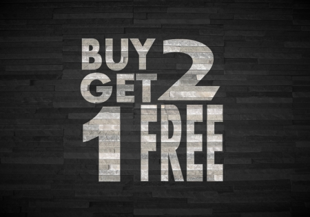 get one: Pastel gray  creative decoration 3d graphic with stylish buy two get one free sign  on noble stone texture
