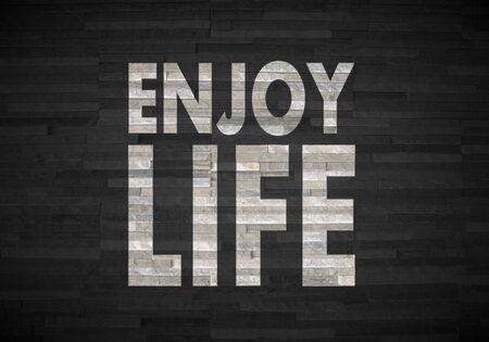 enjoy life: Grigio pastello interni eleganti grafica 3D con segno elegante godersi la vita sulla nobile pietra trama