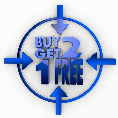 get one: Medium blue  glossy design 3d graphic with decorative buy two get one free label in focus point