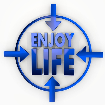 enjoy life: Medium blue  glossy design 3d graphic with decorative enjoy life icon in focus point