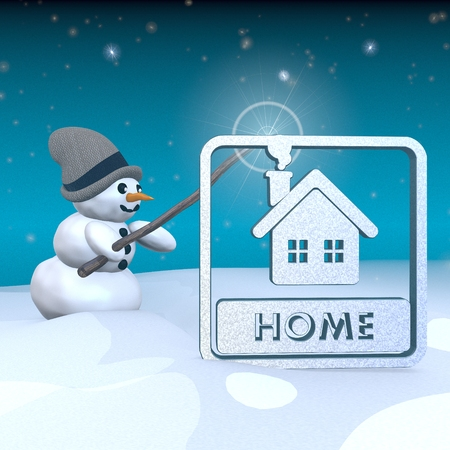 3d rendered snowman in snowy x-mas landscape with doing magic with a home label  photo