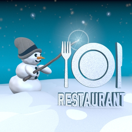 knive: 3d rendered snowman in snowy x-mas landscape with doing magic with a restaurant,rest house,luncheon label