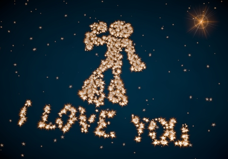 i label: Black  cute silhouette 3d graphic with nice I love you label made of tiny spheres