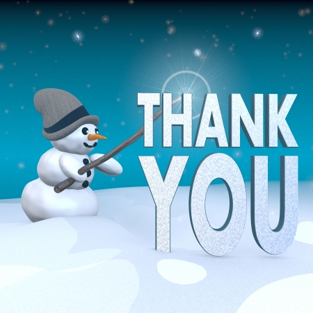 3d rendered snowman in snowy x-mas landscape with doing magic with a thank you symbol  Stock Photo