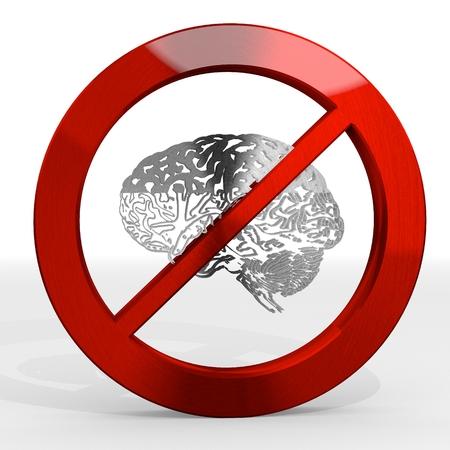Dark red  forbidden brainpower 3d graphic with posh brain sign not allowed Stock Photo