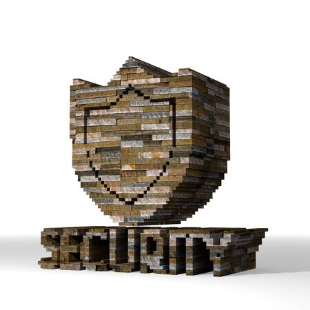 Smoky black  isolated protect 3d graphic with strong security sign  built out of stones photo