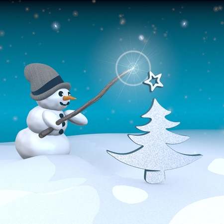 autumnn: 3d rendered snowman in snowy x-mas landscape with doing magic with a abstract christmas tree sign