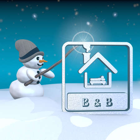breakfast in bed: 3d rendered snowman in snowy x-mas landscape with doing magic with a bed and breakfast sign
