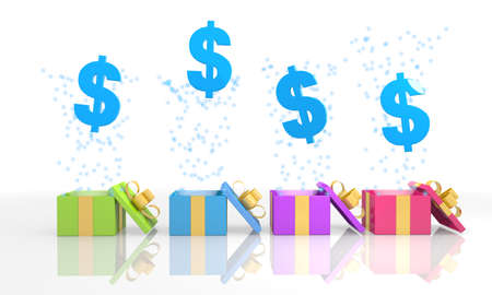 currency glitter: four on white background isolated 3d rendered gift boxes with isolated Dollar symbol coming out of it