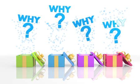 four on white background isolated 3d rendered gift boxes with isolated why symbol coming out of it photo