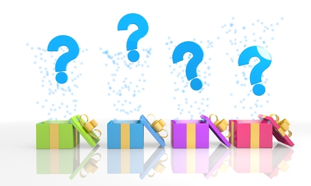 unclear: four on white background isolated 3d rendered gift boxes with unclear question icon coming out of it