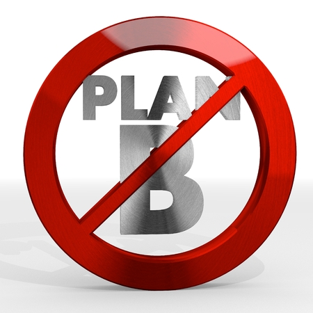 Dark red  isolated warning 3d graphic with alternative plan b sign not allowed