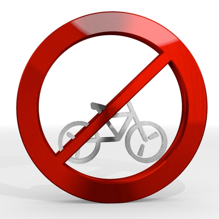 Dark red  polished metal 3d graphic with polished bicycle sign not allowed photo