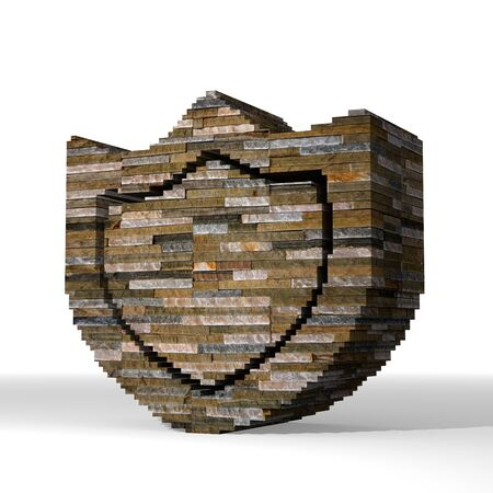 Smoky black  solid secure 3d graphic with solid protection symbol  built out of stones photo